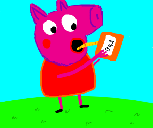 Peppa pig drinks gasoline