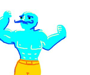 Buff blue man with mustache