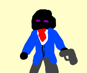 Blackhaired with Suit, a gun and closed eyes