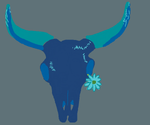 Blue bull skull with flowers growing out