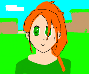 Alex from Minecraft as a cute anime girl