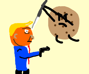 Donald Trump fighting a cookie