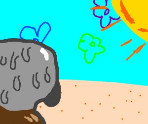 squidward sweating under hot sun