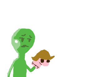 green stick man holding a sock puppet