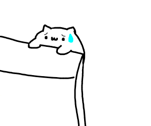 Bongo cat hangs on for life on cliff