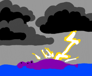 purple hippo struck by lightning