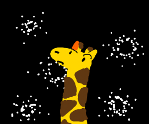 giraffe is confused on why there r particles