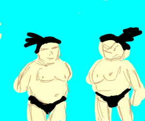 Sumo Wrestlers Wrestling