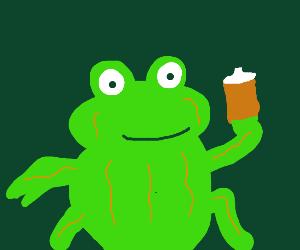 Vainy frog drinks iced coffee