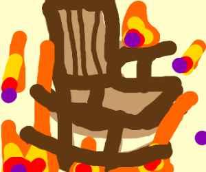 Rocking chair on fire