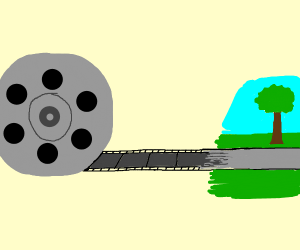 A film reel turns into a road.