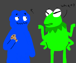 cookie monster and four-armed kermit