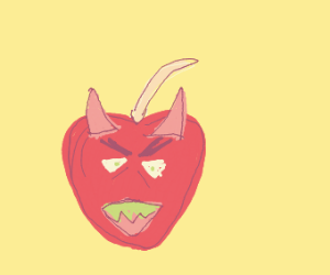 Angry satanic apple
