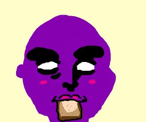 Purple guy seductively eating bread