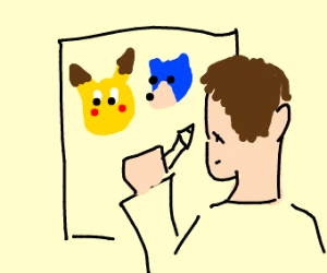 Man drawing pikachu and sonic