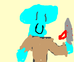 Squidward with a bloody dagger