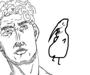 white birb feel disgusted by human head