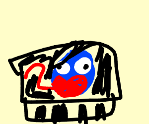 Blue blob on the piano