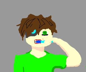 Cyborg brushes his teeth