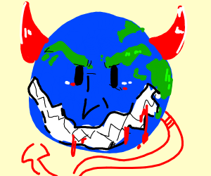 Evil earth with big mouth