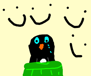Sad penguin in a trash bin