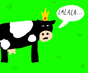 cow with crown singing