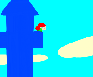 red haired woman crying in tower