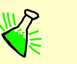 Bottle of glowing green liqud