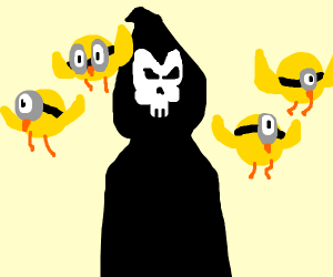 The grim reaper with bird minions