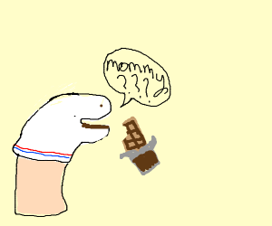 Hand puppet with mom issue eating chocolate