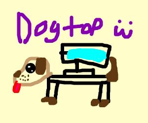 Dog transforming into a desktop