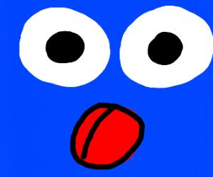 Tongue and eyes on blue background