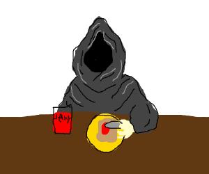 Death peacefully makes jelly toast.