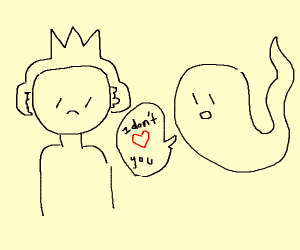 Guy with earmuffs/crown is sad for ghost