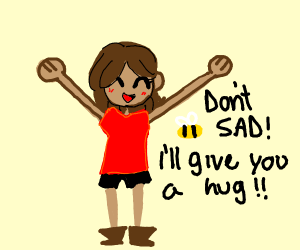 A girl is sad. Someone cheer her up!