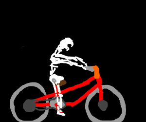 skeleton ring a bike