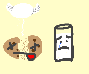 Milk is sad after the loss of his cookie