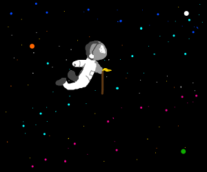 Astronaut with a walking stick