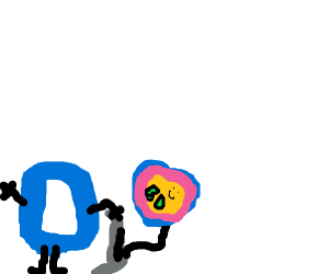 Letter D pumping a happy balloon while waving