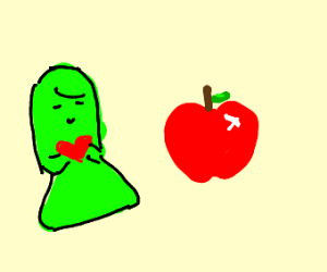 Green girl loves apple