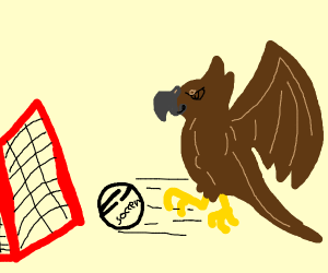 Angry brown bird plays soccer