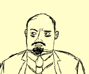Lenin, but with a square chin.
