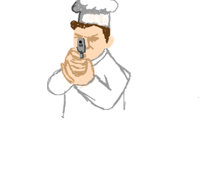 Chef cooking with a gun