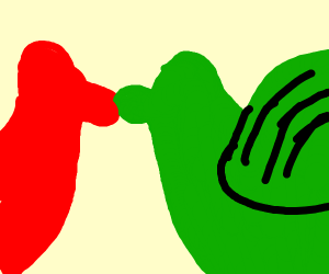 red and green dragon kissing