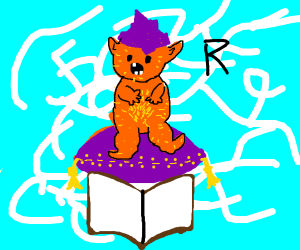 Hairy orange genie telling you to read