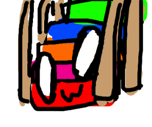 A colourful staircase, with a face!