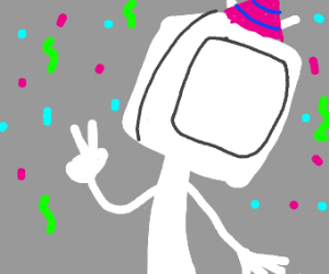 character with a white box head with partyhat