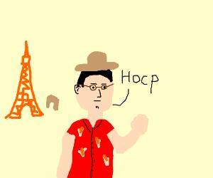 a tourist saying hocp