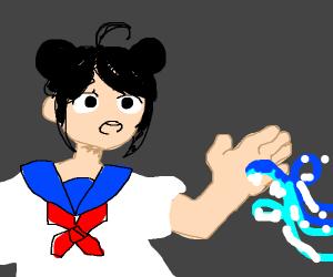 Manga girl with water powers
