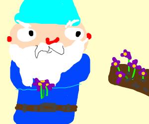 garden gnome snatching flowers